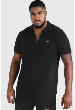 Mens Black Big & Tall MAN Signature Revere Collar Polo