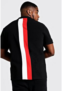 Mens Red Big & Tall MAN Zip Through Colour Block Polo