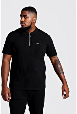 Mens Ecru Big & Tall MAN Zip Through Colour Block Polo