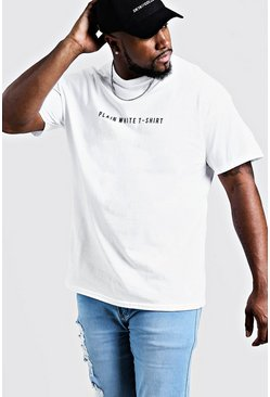Big & Tall Printed Plain White T-Shirt