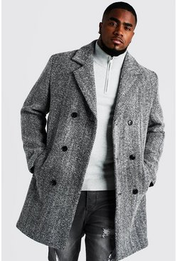 Black Big & Tall Double Breasted Wool Blend Overcoat