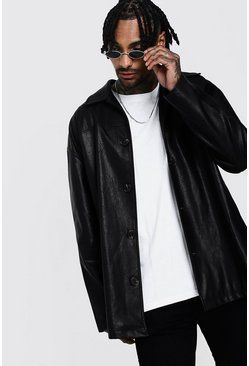 Mens Black Oversized Faux Leather Mac