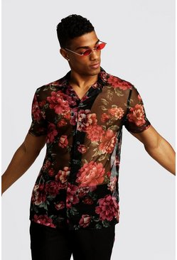 Mens Black Short Sleeve Revere Shirt In Floral Mesh