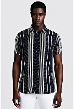 Mens Navy Polka Dot Stripe Short Sleeve Shirt