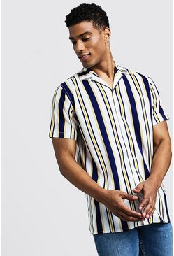 Mens White Vertical Multi Stripe Short Sleeve Revere Shirt