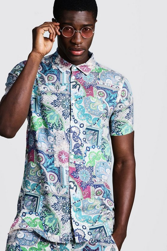 Mens Navy Paisley Print Short Sleeve Shirt