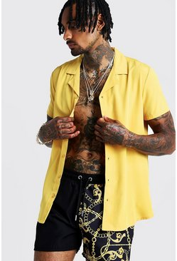 Mens Mustard Short Sleeve Revere Collar Shirt