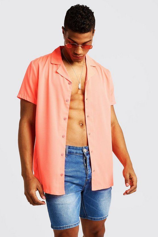 Mens Coral Short Sleeve Revere Collar Shirt
