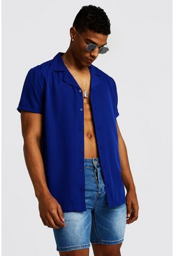 Mens Cobalt Short Sleeve Revere Collar Shirt