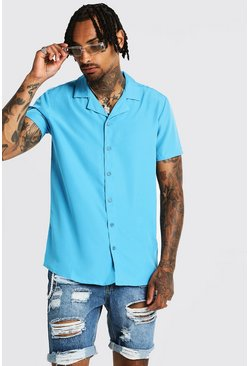 Mens Blue Short Sleeve Revere Collar Shirt