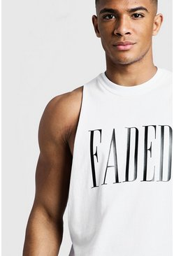 Mens White Faded Slogan Drop Armhole Tank