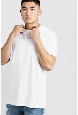 Mens White Longline Knitted Rib T-Shirt