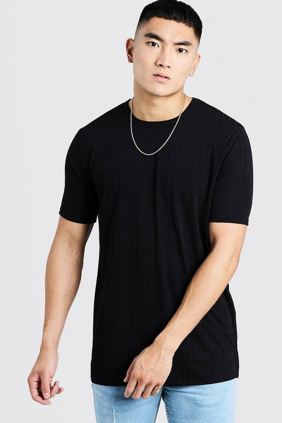 Mens Black Longline Knitted Rib T-Shirt