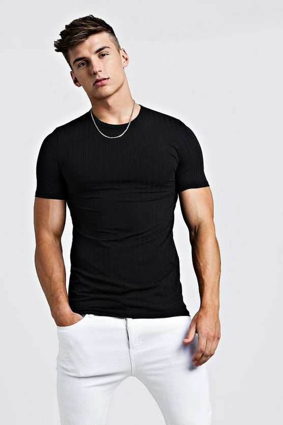 Mens Black Muscle Fit Knitted Rib T-Shirt