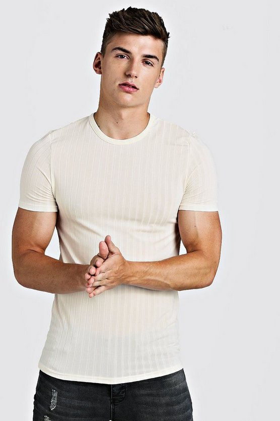 Mens Ecru Muscle Fit Knitted Rib T-Shirt