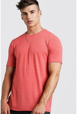 Mens Coral Longline Knitted T-Shirt