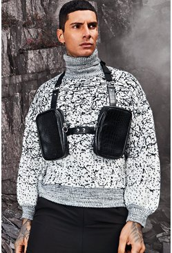 Mens White Oversized Knitted Roll Neck Jumper In Ombre Effect