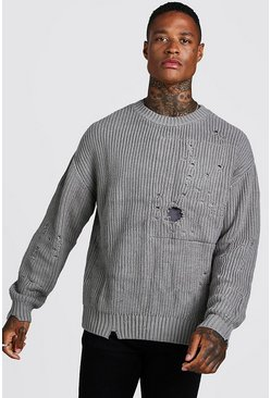 Mens Grey Chunky Knitted Jumper With Distressing