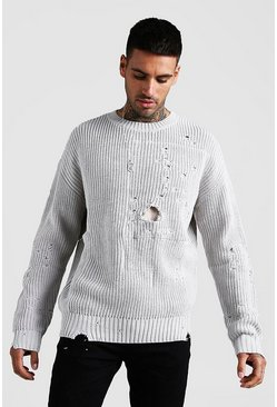 Mens Ecru Chunky Knitted Jumper With Distressing