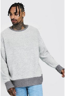 Mens Grey Drop Shoulder Knitted Jumper With Exposed Seams