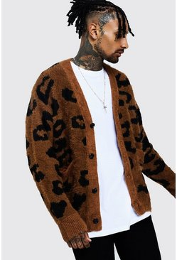 Mens Brown Fluffy Knitted Cardigan In Leopard