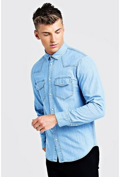 Mens Pale blue Long Sleeve Denim Western Shirt