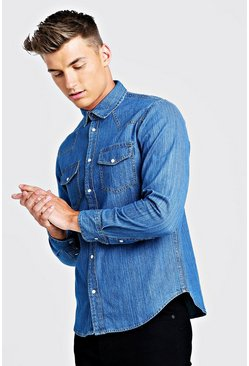 Mens Mid blue Long Sleeve Denim Western Shirt