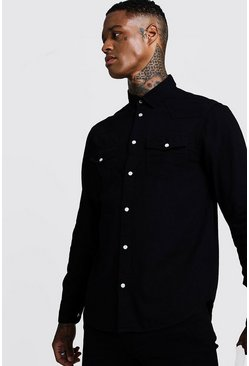 Mens Black Long Sleeve Denim Western Shirt