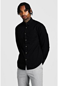 Mens Black Long Sleeve Denim Shirt