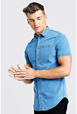 Mid blue Short Sleeve Denim Shirt In Muscle Fit