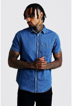 Mens Mid blue Short Sleeve Denim Shirt