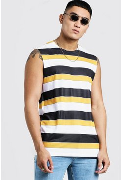 Mens Mustard Horizontal Stripe Tank