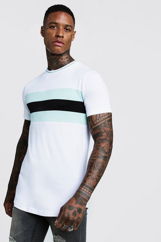 Mens Aqua Longline Colour Block Muscle Fit Tee