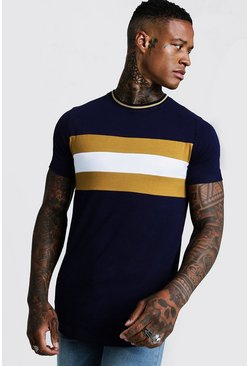 Mustard Longline Colour Block Muscle Fit Tee