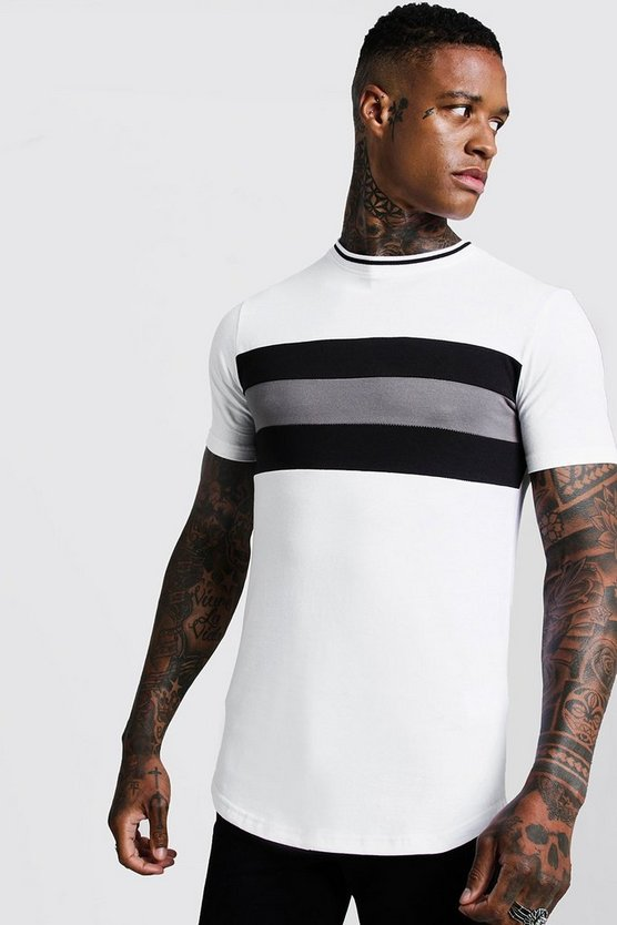 Mens White Longline Colour Block Muscle Fit Tee