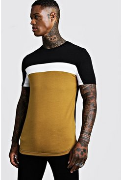 Mens Mustard Colour Block Muscle Fit T-Shirt