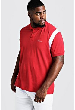 Mens Red Big & Tall MAN Jersey Polo With Shoulder Tape