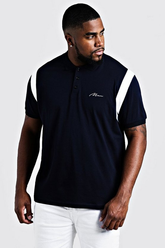 Mens Navy Big & Tall MAN Jersey Polo With Shoulder Tape