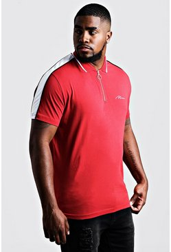 Mens Red Big & Tall MAN Zip Through Shoulder Panel Polo