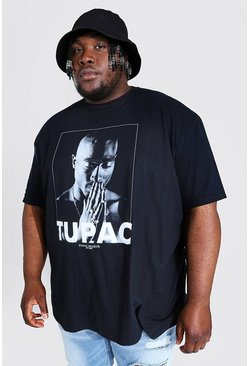 Mens Black Big and Tall Tupac License T-Shirt