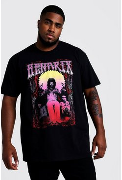 Mens Black Big and Tall Jimi Hendrix Licence T-Shirt