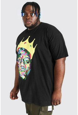 Mens Black Big and Tall Biggie Crown License T-Shirt