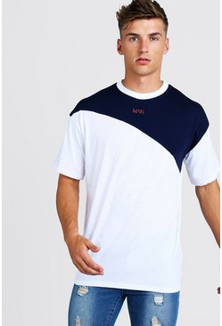 White Oversized Original MAN Colour Block T-Shirt