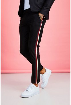 Black Skinny Fit Tape Detail Suit Pants