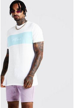 T-shirt long colorblock MAN Signature, Aqua, Homme