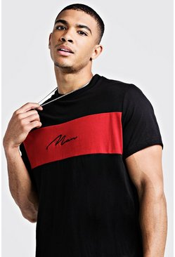 T-shirt long colorblock MAN Signature, Rouge, Homme