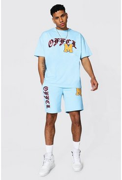Oversized Official Varsity Tee and Short Set, Light blue