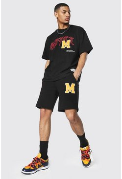 Oversized Official Varsity Tee & Short Set, Black