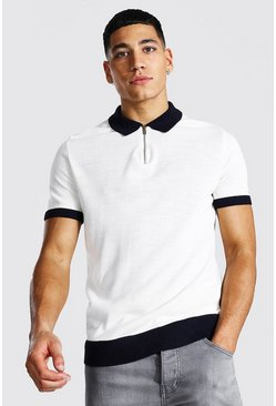 Ecru Spliced Quarter Zip Polo