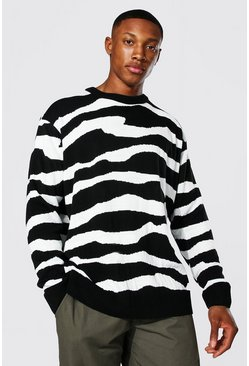 Black Oversized Abstract Stripe Knitted Sweater